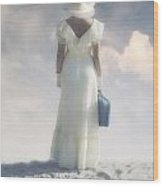 Woman With Suitcase Wood Print