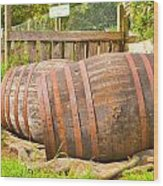 Wooden Barrels Wood Print