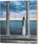 Young Woman As A Classical Woman Of Ancient Egypt Rome Or Greece Wood Print
