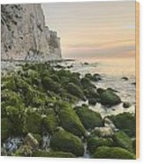 Sunrise At The White Cliffs Of Dover Wood Print
