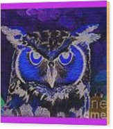 2011 Dreamy Horned Owl Negative Wood Print by Lilibeth Andre