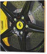 2012 Ferrari 458 Spider Brake Pad Yellow Wood Print