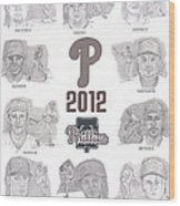 2012 Phightin' Phils Wood Print by Chris  DelVecchio