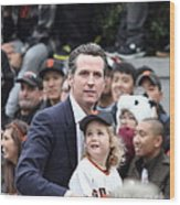 2012 San Francisco Giants World Series Champions Parade - Gavin Newsom - Dpp0005 Wood Print by Wingsdomain Art and Photography