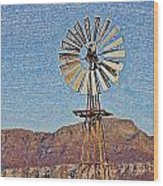 Water Pump Windmill Wood Print