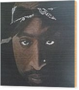 2pac In Colour Wood Print