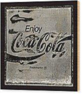Coca Cola Sign Grungy Retro Style Wood Print