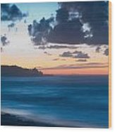 A Beach During Sunset With Glowing Sky Wood Print