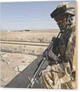 A British Army Soldier Provides Wood Print by Andrew Chittock