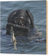A Navy Seal Combat Swimmer Wood Print by Michael Wood