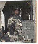 A Uh-60 Black Hawk Door Gunner Manning Wood Print