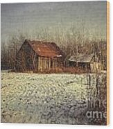 Abandoned Barn With Snow Falling Wood Print by Sandra Cunningham