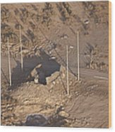 Aerial View Of A Destroyed Iraqi Wood Print