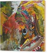 African Bead Painting  Wood Print