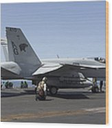 An Fa-18c Hornet During Flight Wood Print