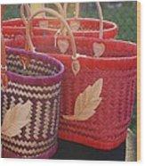3 Baskets Wood Print