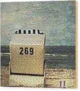 Beach Chair Wood Print by Joana Kruse