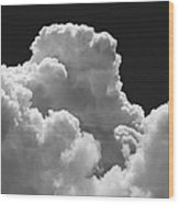 Black And White Sky With Building Storm Clouds Fine Art Print Wood Print