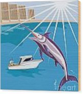 Blue Marlin Fish Jumping Retro Wood Print by Aloysius Patrimonio