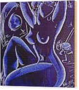 Blue Nude Wood Print