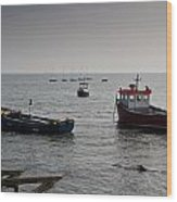Boats Moored Off Of Leigh Essex Wood Print