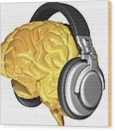 Brain With Headphones, Artwork Wood Print