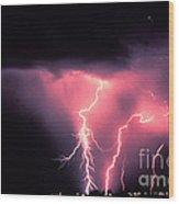 Cloud-to-ground Lightning Wood Print