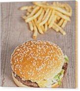 Fat Hamburger Sandwich Wood Print