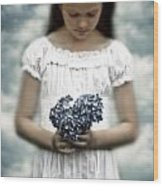 Girl With Hydrangea Wood Print