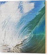 Glassy Breaking Wave Wood Print