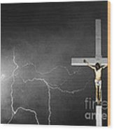 Good Friday - Crucifixion Of Jesus Bw Wood Print