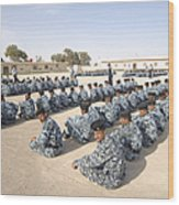 Iraqi Police Cadets Being Trained Wood Print by Andrew Chittock