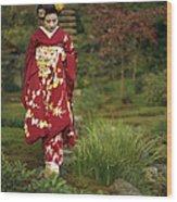 Kimono-clad Geisha In A Park Wood Print