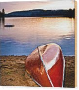 Lake Sunset With Canoe On Beach Wood Print