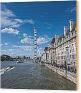 London Eye And County Hall Wood Print