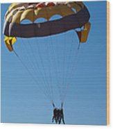 3 People Para-sailing Pachmarhi Wood Print