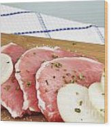Pork Chops Raw Wood Print by Blink Images