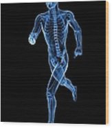 Running Skeleton, Artwork Wood Print