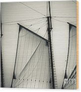 3 Sails In Monotone Of An Old Sailboat Wood Print