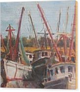 3 Shrimpers At Dock Wood Print