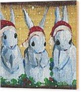 3 Shy Santa Bunnies Wood Print