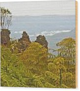 3 Sisters Blue Mountains Wood Print