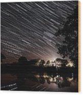 Star Trails Wood Print