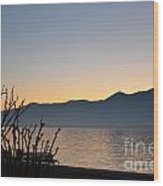 Sunset Over An Alpine Lake Wood Print