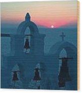 Sunset Santorini Greece Wood Print