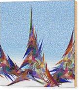 3 Teepees Snow Storm Wood Print