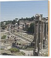 Temple Of Saturn In The Forum Romanum. Rome Wood Print by Bernard Jaubert