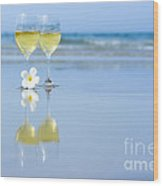 Two Glasses Of White Wine Wood Print