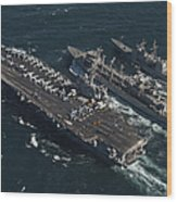 Underway Replenishment At Sea With U.s Wood Print