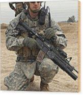 U.s. Army Sergeant Provides Security Wood Print